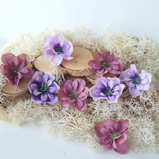 """Fleurs tissu """"Eglantines"""" vieux rose et parme"""