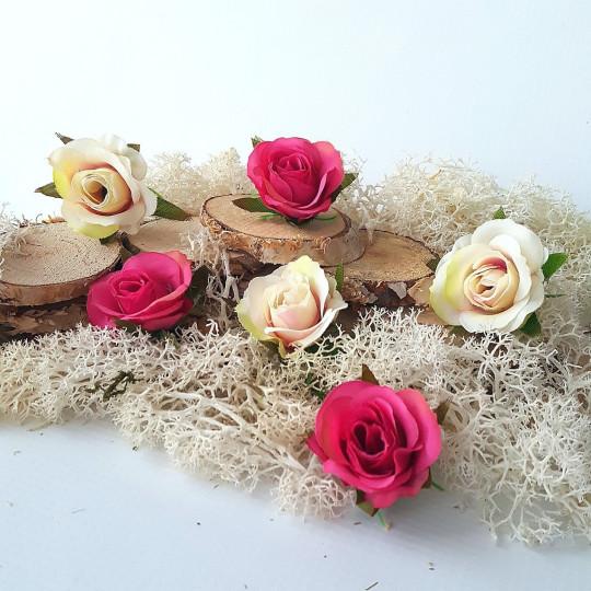 """Fleurs tissu """"Boutons de rose"""" ivoire et rose"""