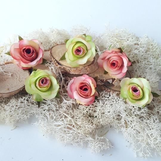 """Fleurs tissu """"Boutons de rose"""" rose et vert"""