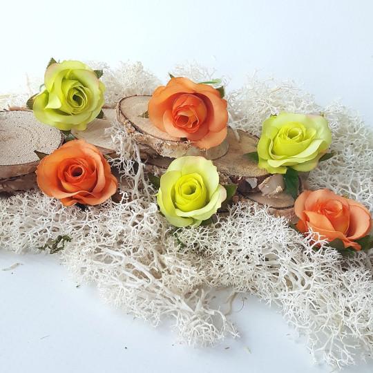 "Fleurs tissu ""Boutons de rose"" vert et orange"