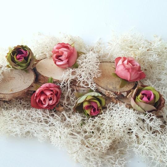 """Fleurs tissu """"Roses sauvages"""" rose et vert"""