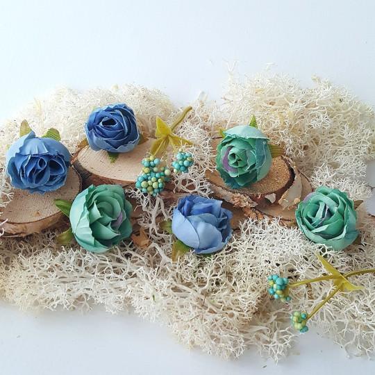 "Fleurs tissu ""Roses sauvages"" bleu et turquoise"