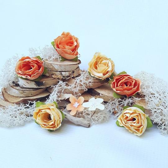 """Fleurs tissu """"Roses sauvages"""" orange pastel"""