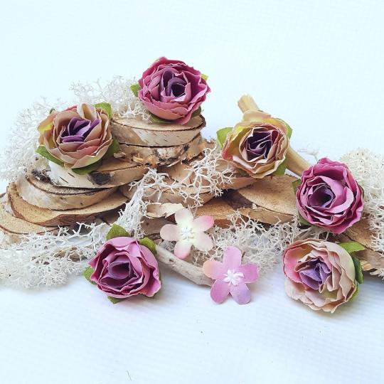 """Fleurs tissu """"Roses sauvages"""" rose et parme"""