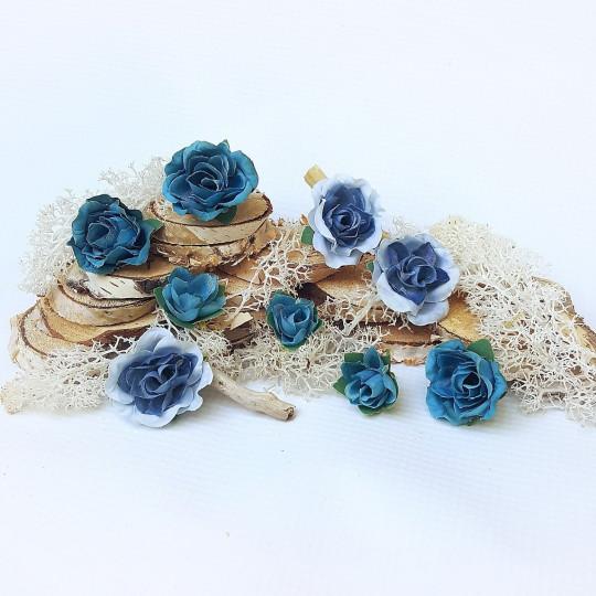"""Fleurs tissu """"Roses ouvertes"""" bleu pétrole et ciel"""