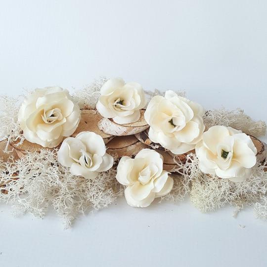 """Fleurs tissu """"Lysanthius"""" ivoire"""