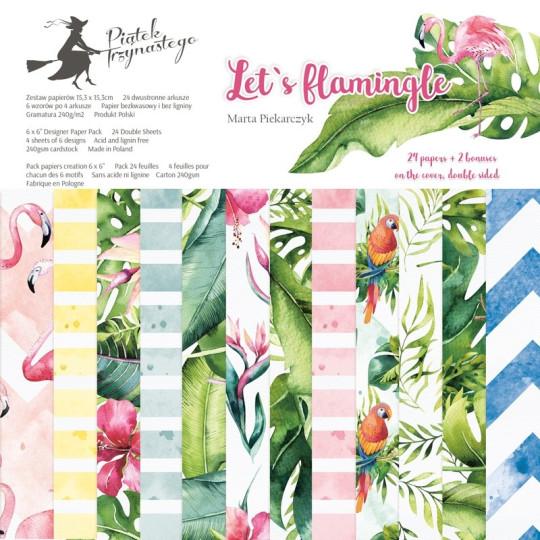 """Bloc 15 x 15 collection """"Let's flamingle"""" de Piatek"""