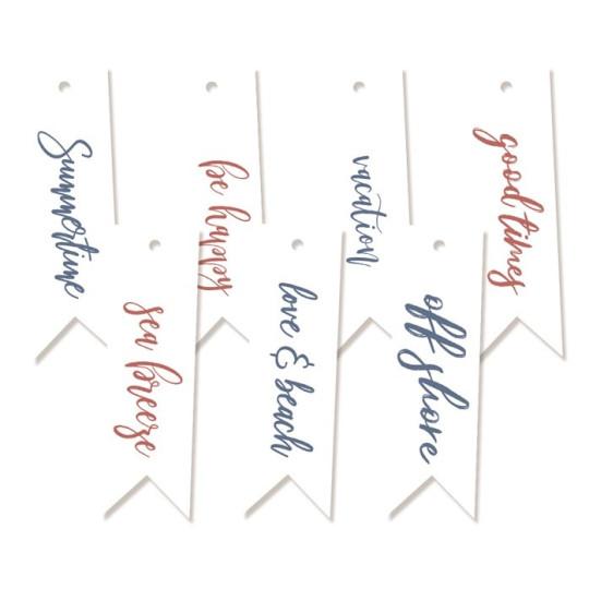 """Tags décoratifs fanions textes collection """"Off Shore"""" de Piatek"""