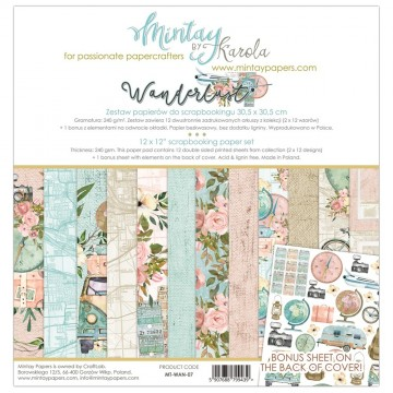 "Bloc 12 papiers scrapbooking 30 x 30 collection ""Wanderlust"" de Mintay"