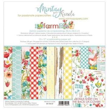 "Bloc 12 papiers scrapbooking 30 x 30 collection ""Farmlife"" de Mintay"