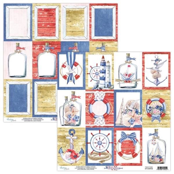 "Bloc 12 papiers scrapbooking 30 x 30 collection ""Marina"" de Mintay"