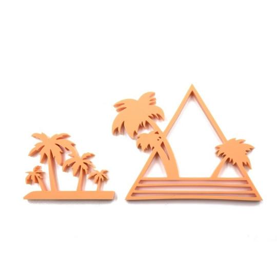"""Lot 2 """"Palmiers"""" en acrylique orange pastel - Scrapmouset"""