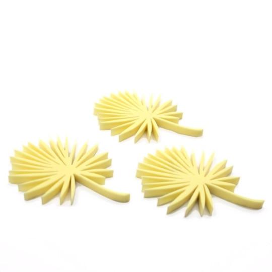 Lot 3 feuilles de palmier en acrylique jaune - Scrapmouset