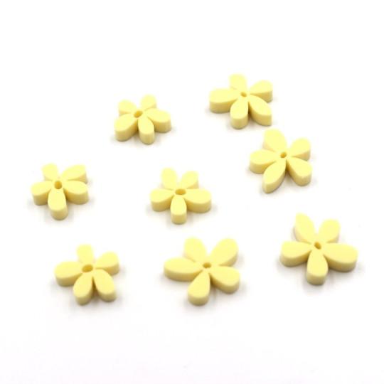 Lot 8 fleurs tropicales en acrylique jaune pastel - Scrapmouset