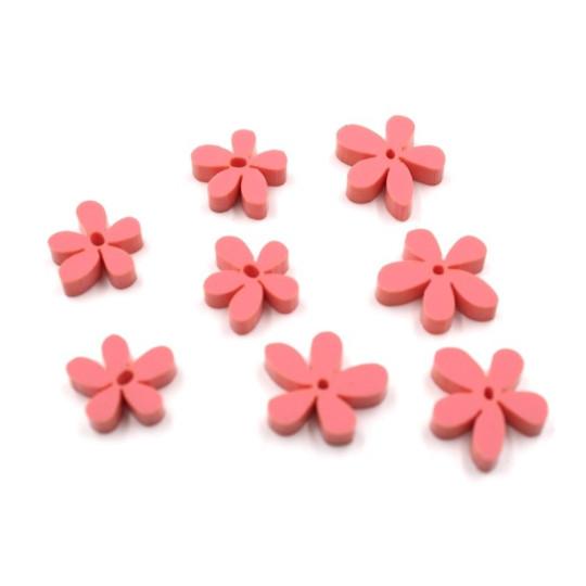 Lot 8 fleurs tropicales en acrylique framboise - Scrapmouset