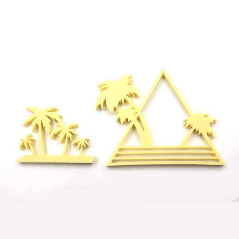 """Lot 2 """"Palmiers"""" en acrylique jaune pastel - Scrapmouset"""