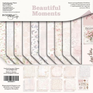 "Set 11 papiers 30 x 30 collection ""Beautiful Moments"" de Scrapmir"