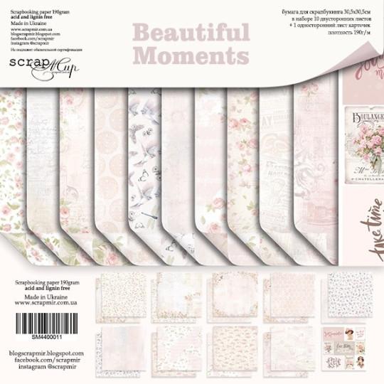 "Set 11 papiers 30 x 30 collection ""Beautiful Moments"" de Scrapmir"