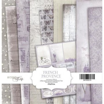 "Set 10 papiers 20 x 20 collection ""French Provence"" de Scrapmir"