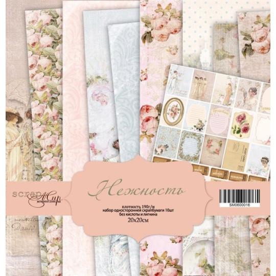 """Set 10 papiers 20 x 20 collection """"Romantique"""" de Scrapmir"""