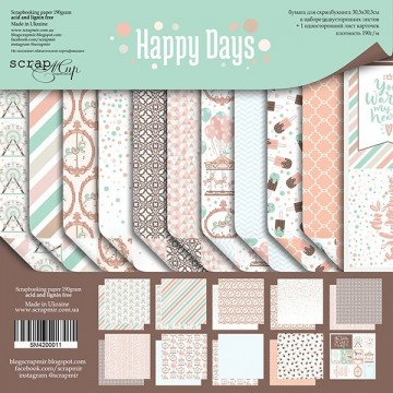 "Set 11 papiers 30 x 30 colection ""Happy Days"" de Scrapmir"