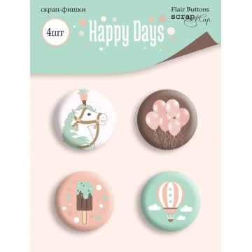 "Lot 4 badges collection ""Happy Days"" de Scrapmir"
