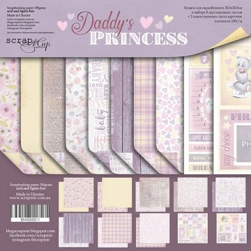 "Set 10 papiers 30 x 30 collection ""Daddy's Princess"" de Scrapmir"
