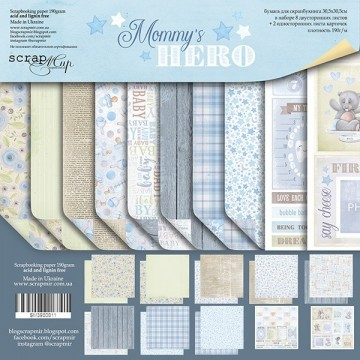 "Set 10 papiers 30 x 30 collection ""Mommy's Hero"" de Scrapmir"