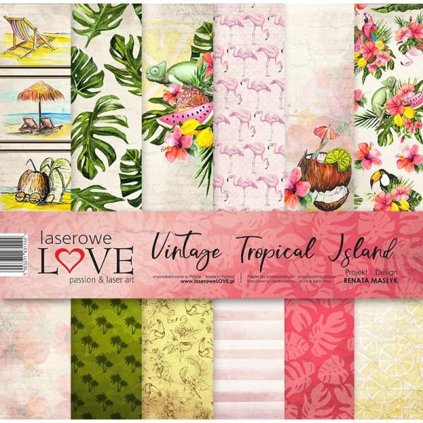 """Set 6 papiers 30 x 30 collection """"Vintage Tropical Island"""" de Laserowe LOVE"""