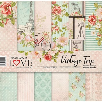 "Set 6 papiers 30 x 30 collection ""Vintage Trip"" de Laserowe LOVE"