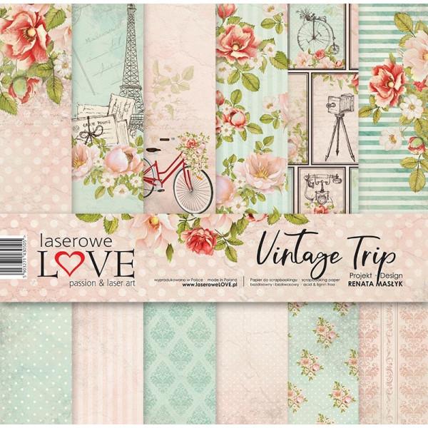 """Set 6 papiers 30 x 30 collection """"Vintage Trip"""" de Laserowe LOVE"""