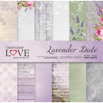 "Set 6 papiers 30 x 30 collection ""Lavender Date"" de Laserowe LOVE"