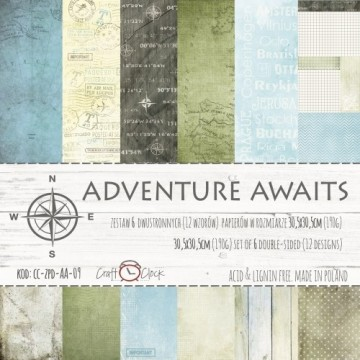 "Set 6 papiers scrapbooking collection ""Adventure Awaits"" de Craft O Clock"
