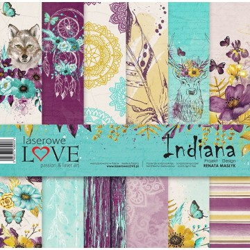 "Set 6 papiers 30 x 30 collection ""Indiana"" de Laserlowe LOVE"