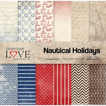 "Set 6 papiers 30 x 30 collection ""Nautical Holidays"" de Laserlowe LOVE"