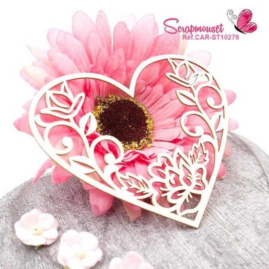 Chipboard coeur floral  - Scrapmouset