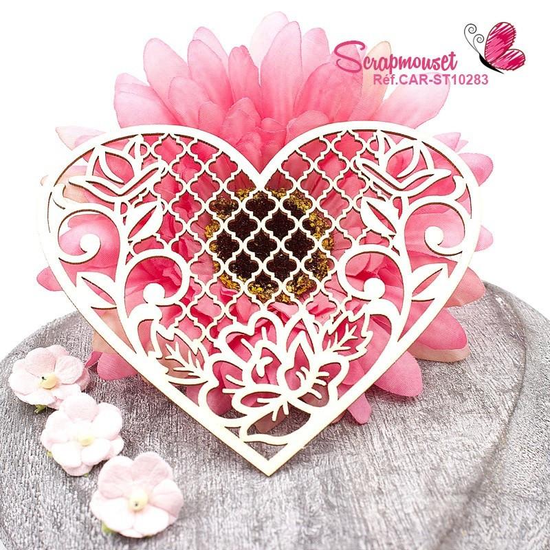 """Chipboard coeur floral et treillis """"Eden"""" en carton bois - Scrapmouset"""
