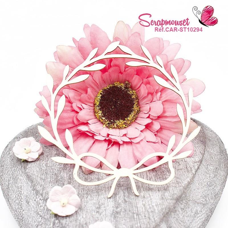 Chipboard cadre floral et petit ruban en carton bois - 1 - Scrapmouset