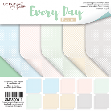 "Set 10 papiers 30 x 30 collection ""Every Day Pastel"" de Scrapmir"
