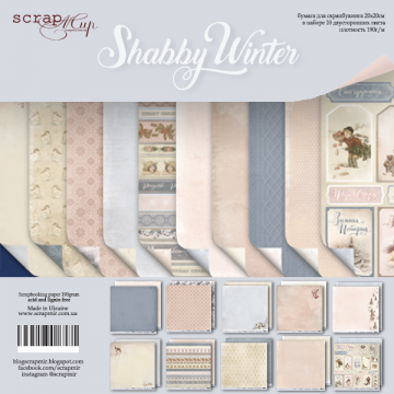 "Set 10 papiers scrapbooking collection ""Shabby Winter"" de Scrapmir"