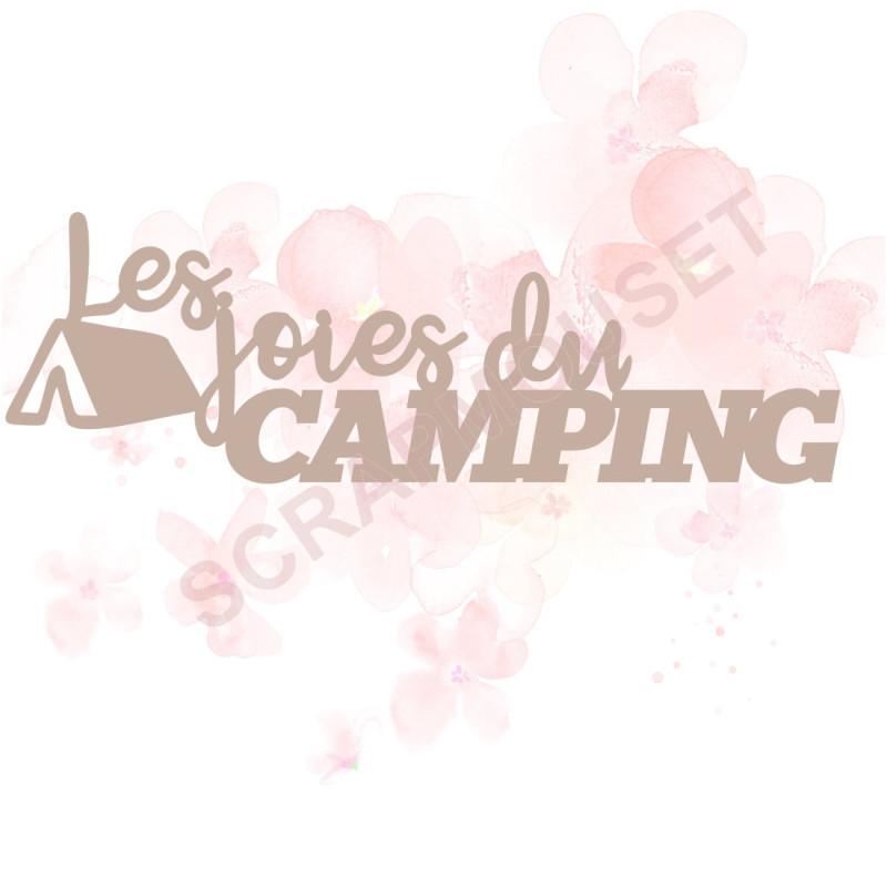 Mot Les joies du camping en carton bois pour scrapbooking