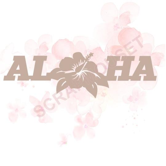 Mot Aloha fleur d'hibiscus en carton bois pour scrapbooking