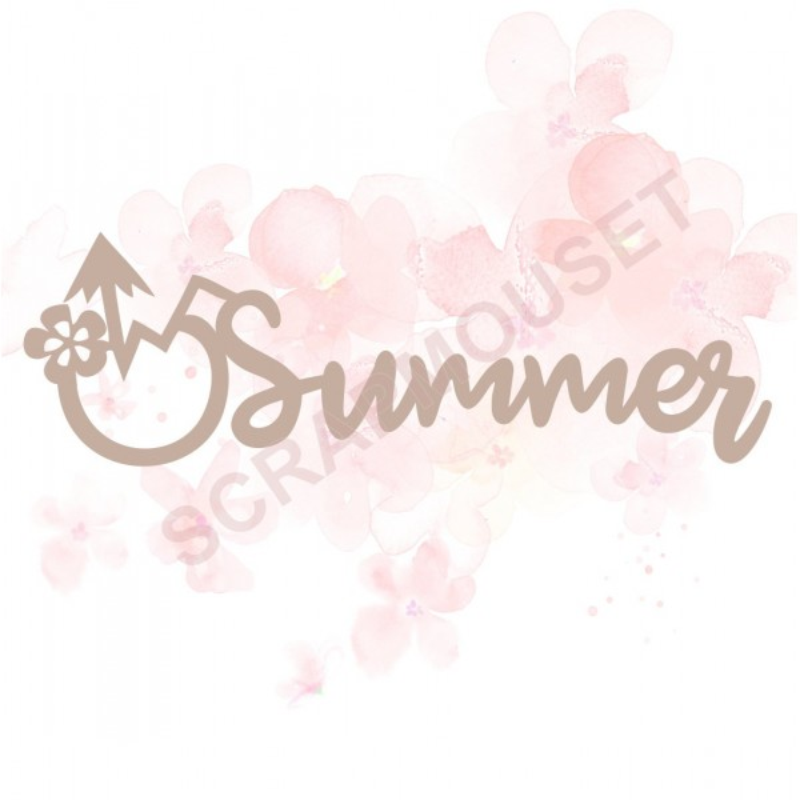 Mot Summer cocktail en carton bois pour scrapbooking