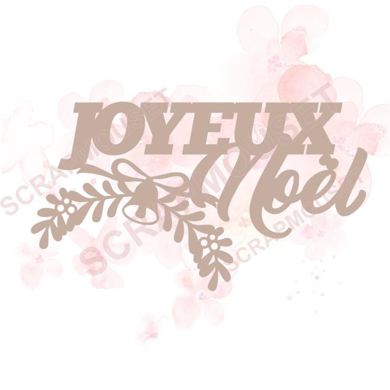 Mot Joyeux Noël (branche de gui) en carton bois SCRAPMOUSET