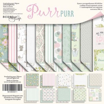 Set 10 papiers scrapbooking 30 x 30 collection Purr Purr SCRAPMIR