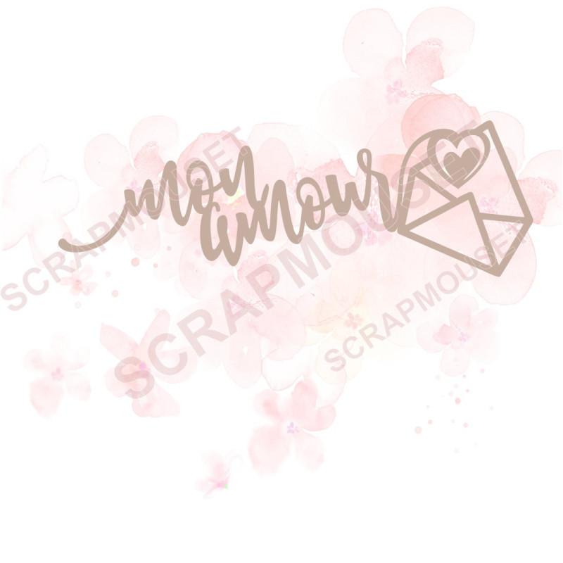 Mot mon amour avec petite enveloppe en carton bois pour scrapbooking