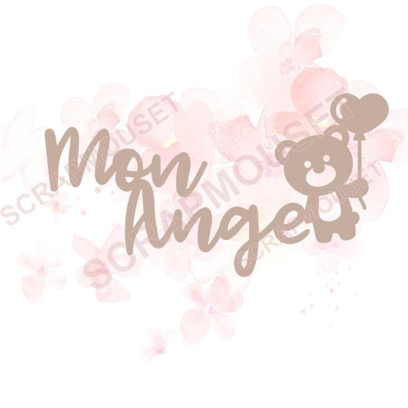 Mot Mon ange en Carton bois pour scrapbooking