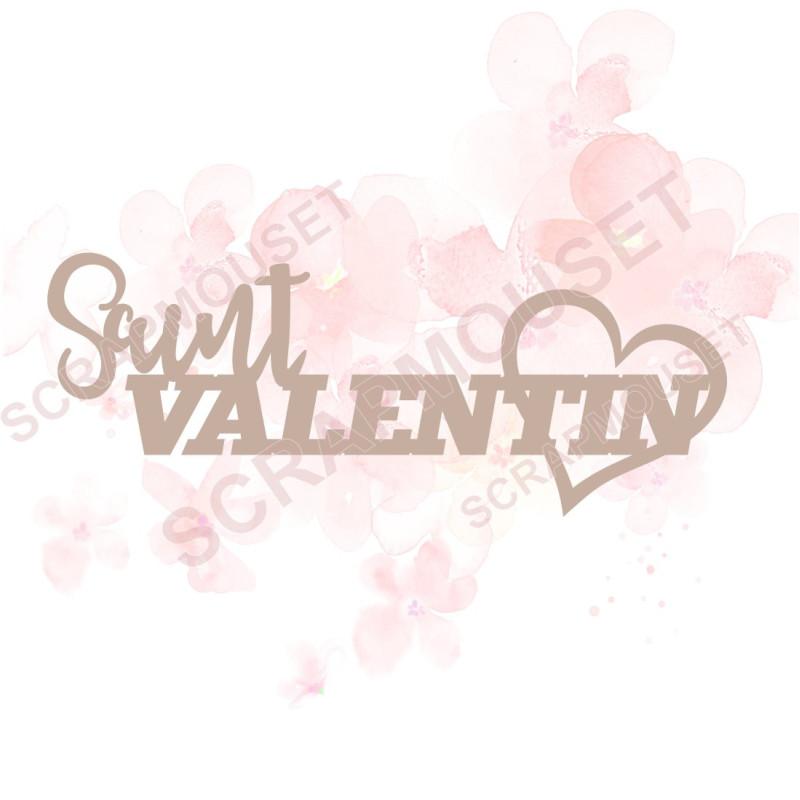 Mot Saint Valentin avec coeur en Carton bois scrapmouset