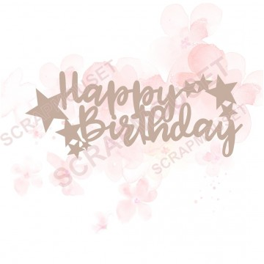 Mot Happy birthday en carton bois pour scrapbooking