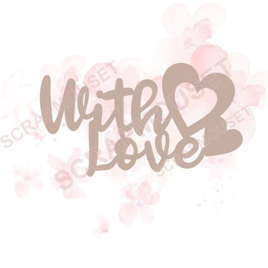 Mot With love en carton bois scrapmouset